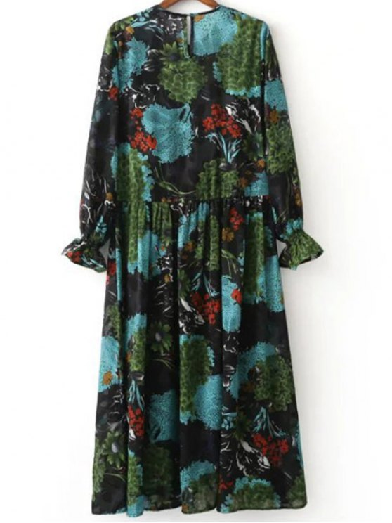 Printed Ruffled Cuffs Dress With Cami Dress - COLORMIX S Mobile