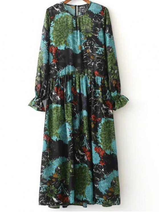 ladies Printed Ruffled Cuffs Dress With Cami Dress - COLORMIX S
