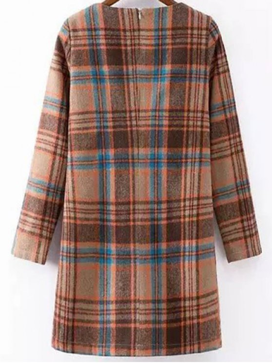 Plaid Wool Blend Shift Dress - COLORMIX L Mobile