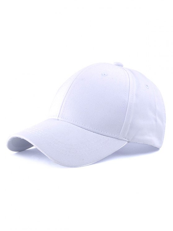 Casual Long Strap Adjustable Baseball Cap - WHITE  Mobile