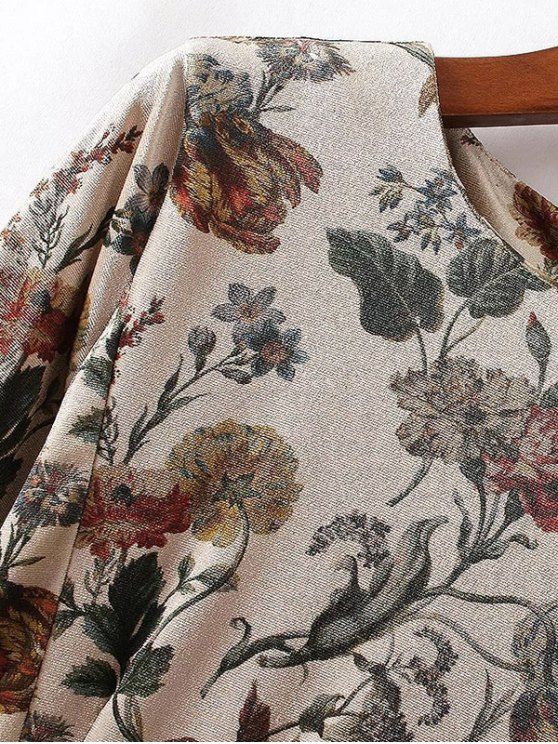 Floral Print Velvet Skater Dress - PINKBEIGE S Mobile