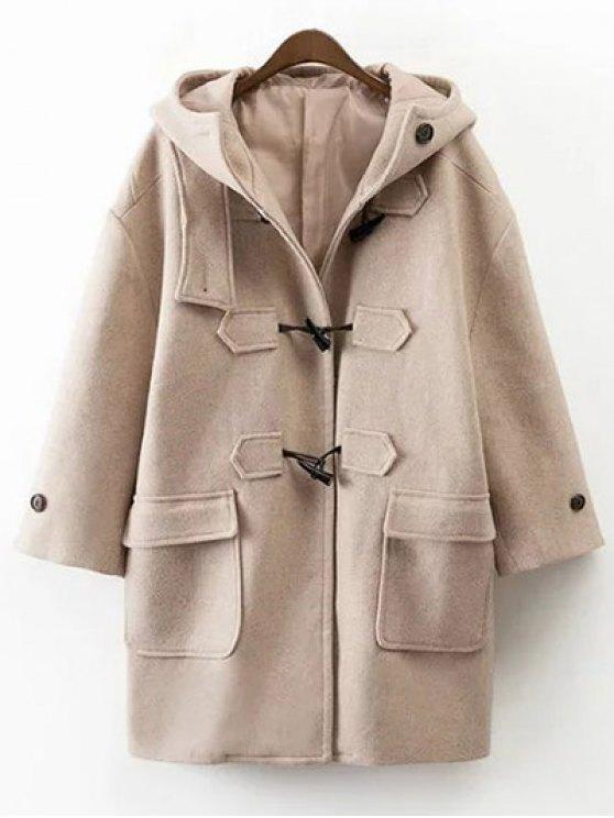 Manteau en laine mélangée à capuche avec poches - Kaki L