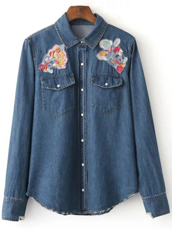 Floral Patched Denim Shirt - DEEP BLUE M Mobile