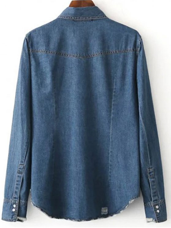 Floral Patched Denim Shirt - DEEP BLUE L Mobile