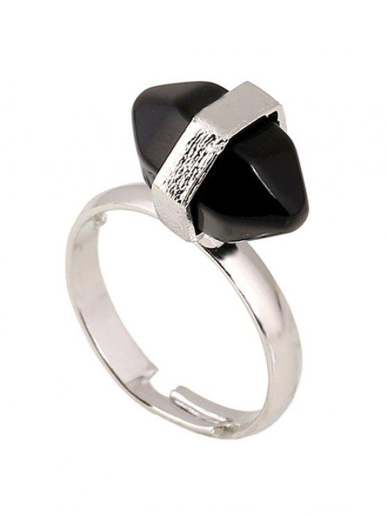 shop Oval Faux Gemstone Ring - BLACK