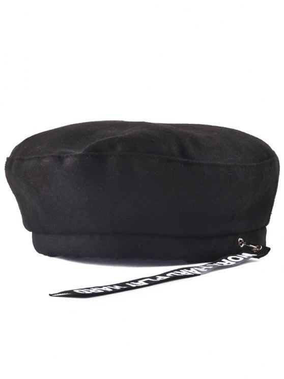 chic Casual Letters Strap Flat Top Beret Cap - BLACK