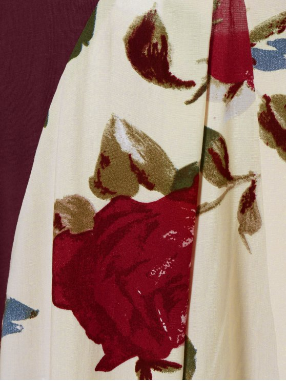 Flower Pattern Layered Blouse - LIGHT APRICOT M Mobile