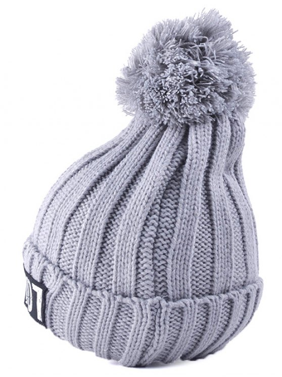 Casual Warm Big Ball Love Letter Knitted Beanie - GRAY  Mobile
