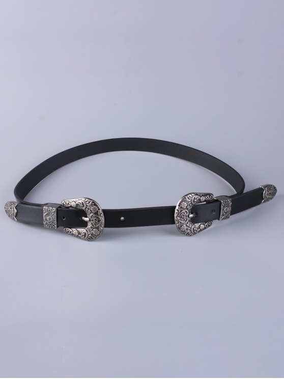 Trousers Wear Double Buckle Belt - BLACK  Mobile