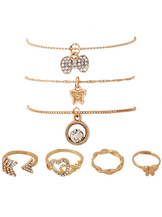 7PCS Heart Rhinestone Gold Plated Jewelry Set - GOLDEN  Mobile