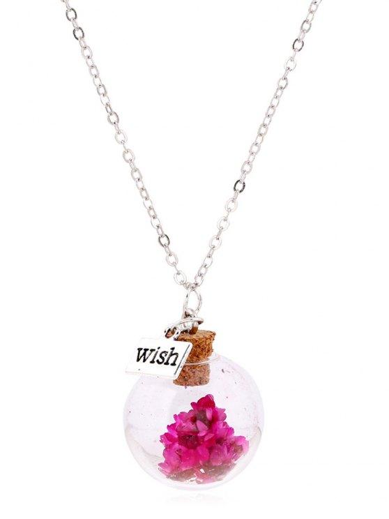 Collar pendiente de la botella de cristal de la flor - Rosa Roja