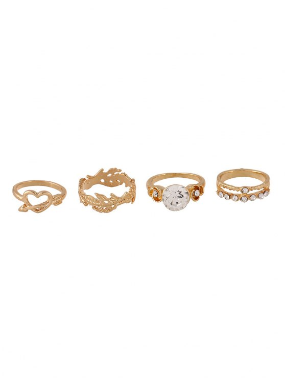Rhinestone Floral Heart Rings and Earrings - GOLDEN ONE-SIZE Mobile