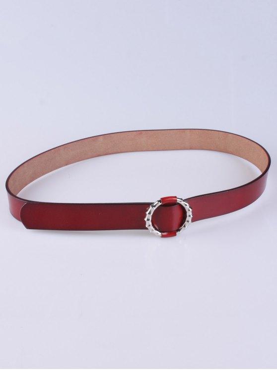 shops Trousers Wear Round Buckle Belt - DEEP RED