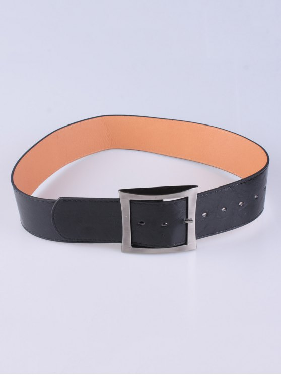 Coat Wear Square Buckle Belt - BLACK  Mobile