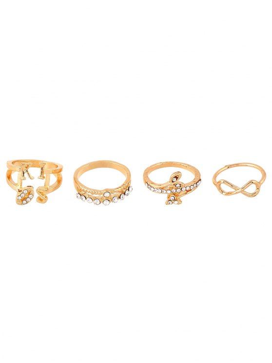 Infinite Leaves Rhinestone Rings and Earrings - GOLDEN ONE-SIZE Mobile