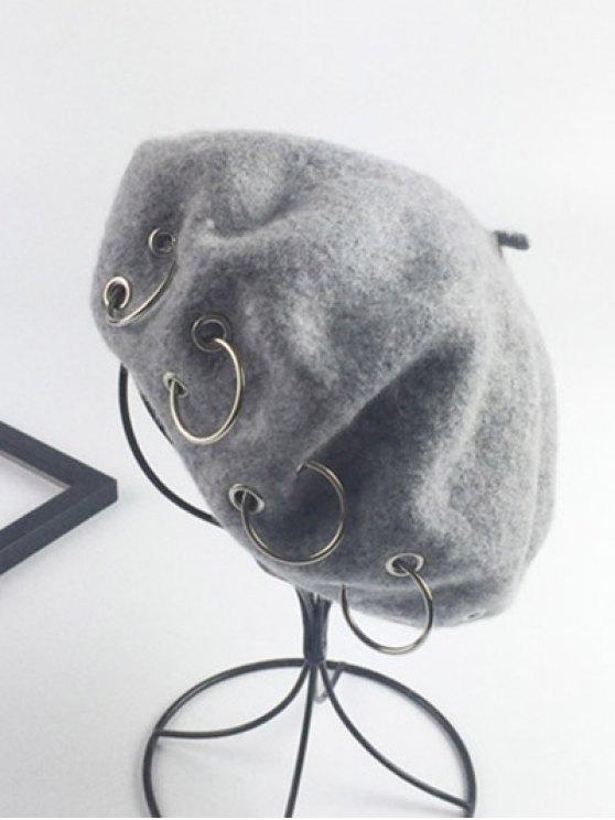 Warm Wool Circle Embellished Beret - LIGHT GRAY  Mobile