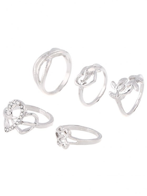 Rhinestone Infinite Heart Ring Set - SILVER ONE-SIZE Mobile