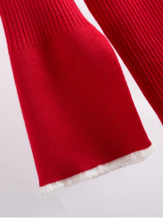 Contrast Trim High Collar Jumper - RED M Mobile