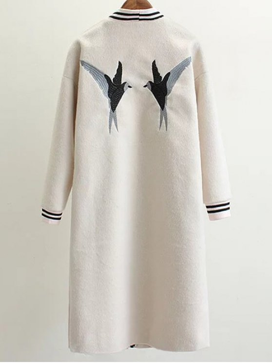 Collarless Bird Embroidered Coat - WHITE L Mobile