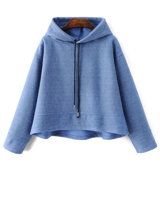 Oversized Drawstring Hoodie - BLUE M Mobile