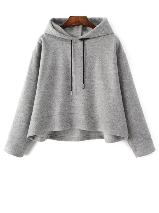 Oversized Drawstring Hoodie - GRAY S Mobile