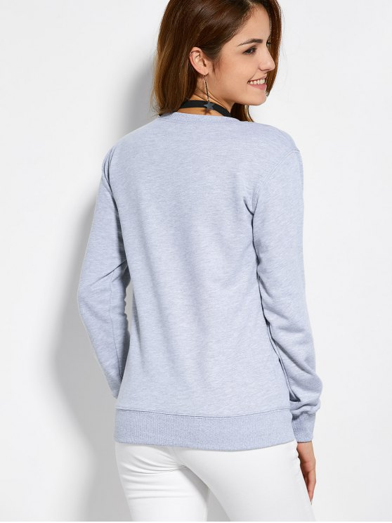Pullover Crewneck Sweatshirt - GRAY L Mobile
