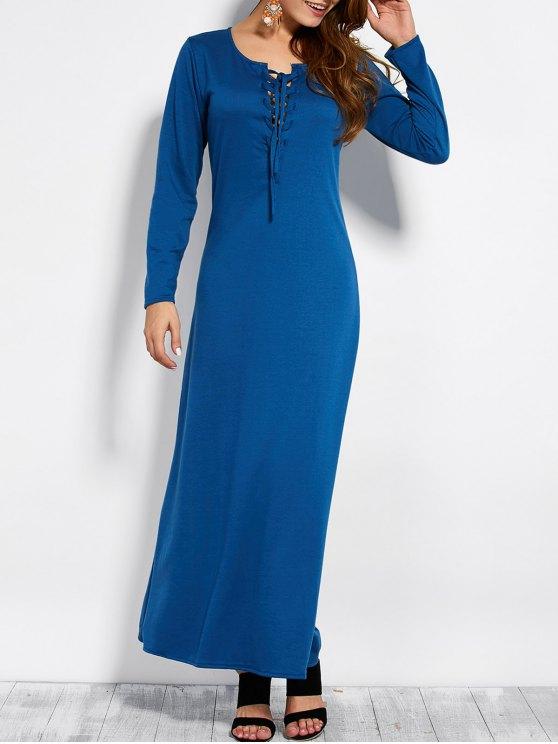 Maxi robe à manches longues en dentelle à lacets - Bleu L