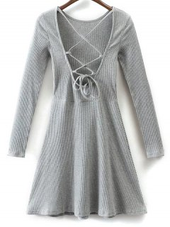 Lace Up Back Skater Dress - Gray M