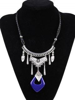 Faux Leather Braid Geometric Engraved Necklace - Sapphire Blue