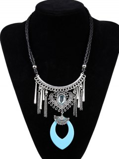Faux Leather Braid Heart Engraved Necklace - Lake Blue