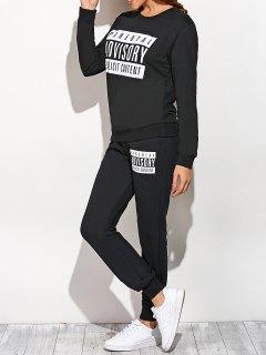 Graphic Sweatshirt And Drawstring Sports Pants - Black S