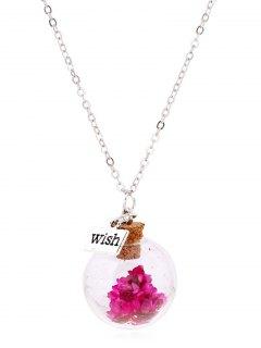 Flower Glass Bottle Pendant Necklace - Rose Red