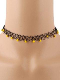 Vintage Beads Adorn Tattoo Choker - Yellow
