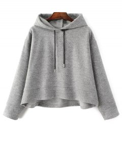 Oversized Drawstring Hoodie - Gray L