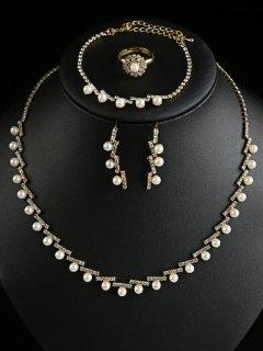 Artificial Pearl Rhinestone Wedding Jewelry Set - Golden
