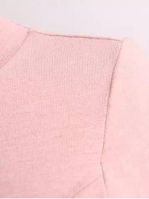 affordable Long Sleeves Patchwork T-Shirt - PINK ONE SIZE Mobile