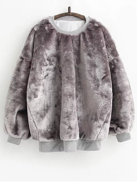 outfit Faux Fur Sherpa Sweatshirt - GRAY ONE SIZE Mobile