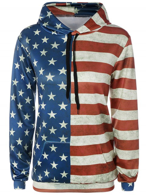 hot American Flag Print Front Pocket Outerwear Hoodie - COLORMIX M Mobile
