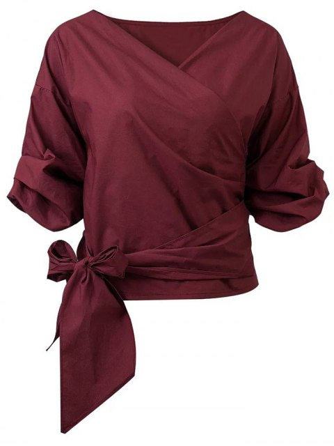 womens Wrap Front Puffed Sleeve Blouse - WINE RED M Mobile
