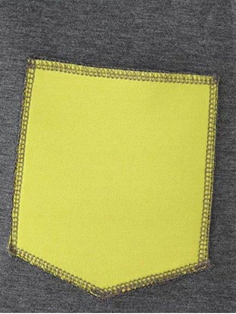 shops Color Block Rabbit Design Hoodie - GRAY 2XL Mobile