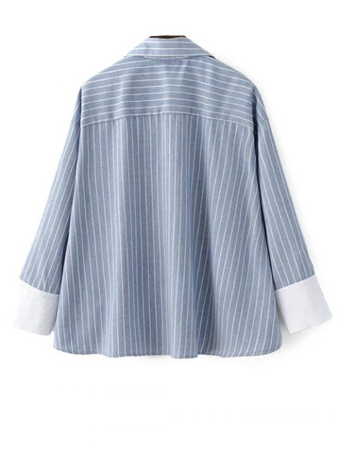 fashion Striped High-Low Blouse - LIGHT BLUE M Mobile