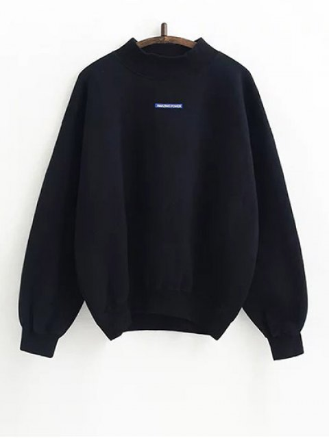 outfits Lettering Fleece Sweatshirt - BLACK ONE SIZE Mobile