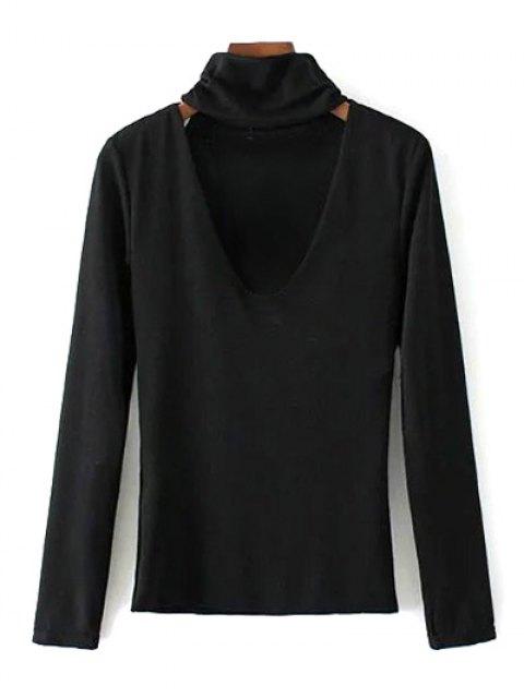 affordable Turtle Neck Knitwear - BLACK S Mobile