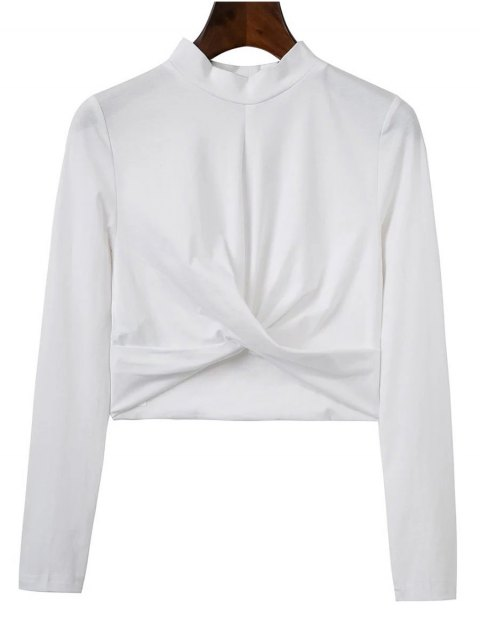 affordable Cropped High Collar T-Shirt - WHITE M Mobile