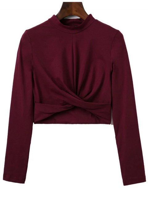 lady Cropped High Collar T-Shirt - WINE RED M Mobile