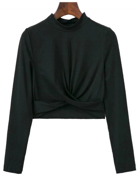 online Cropped High Collar T-Shirt - BLACK L Mobile