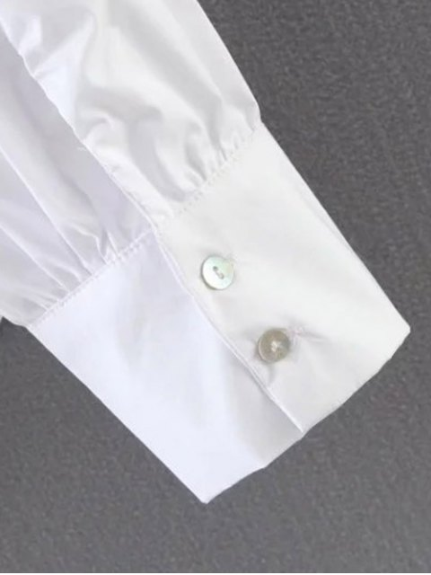 hot Pleated Stand Neck Shirt - WHITE L Mobile