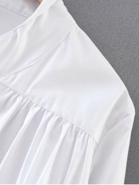 outfits Pleated Stand Neck Shirt - WHITE S Mobile