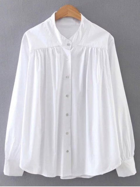 outfit Pleated Stand Neck Shirt - WHITE M Mobile