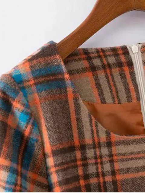 outfits Plaid Wool Blend Shift Dress - COLORMIX XL Mobile